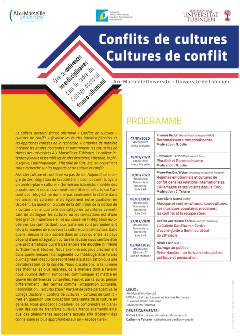 Série de conférences interdisciplinaires dans le cadre du Collège doctoral franco-allemand «Conflits de cultures – Cultures de conflit»