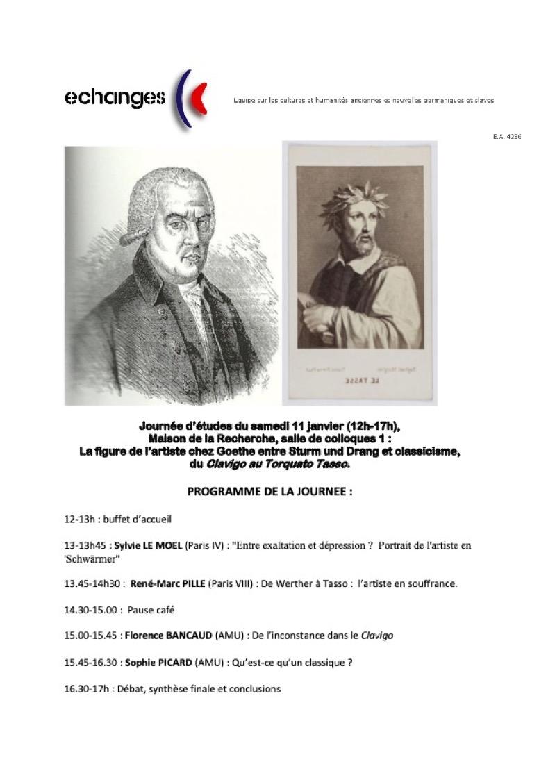 La figure de l'artiste chez Goethe entre Sturm und Drang et classicisme, du Clavigo au Torquato Tasso