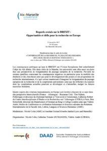 Regards croisés sur le BREXIT : Opportunités et défis pour la recherche en Europe