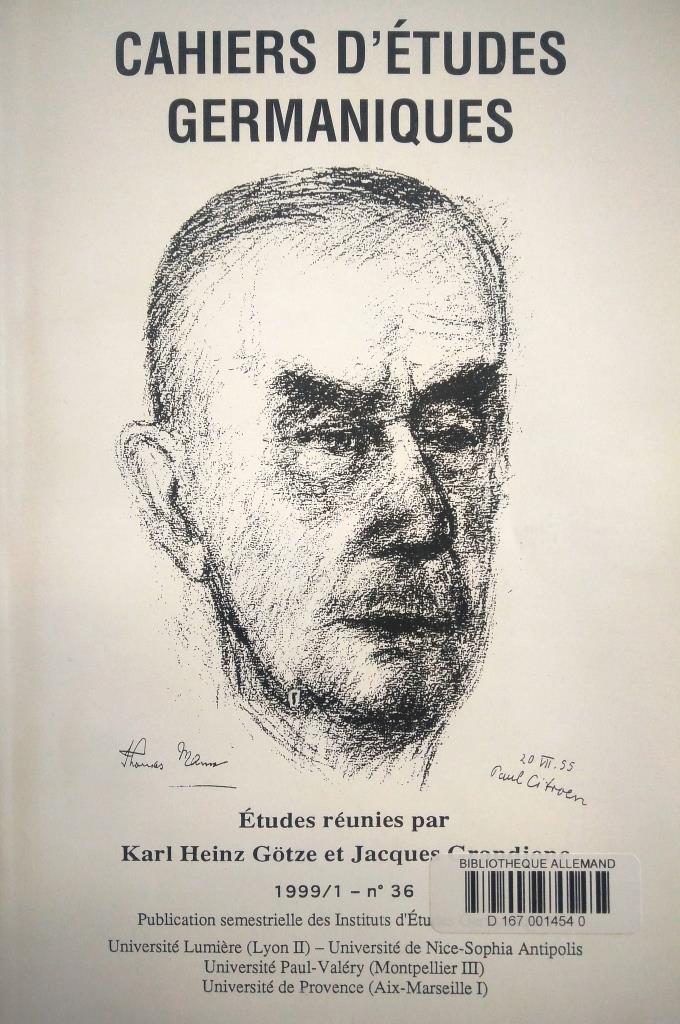 Cahiers d'Etudes Germaniques.