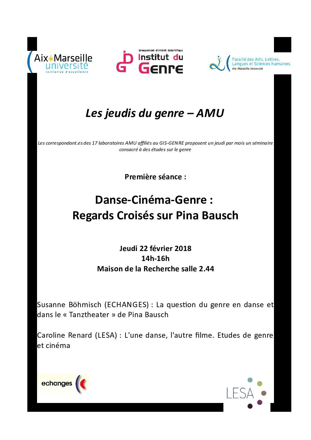 Jeudis du Genre: Danse – Cinéma – Genre: regards croisés sur Pina Bausch